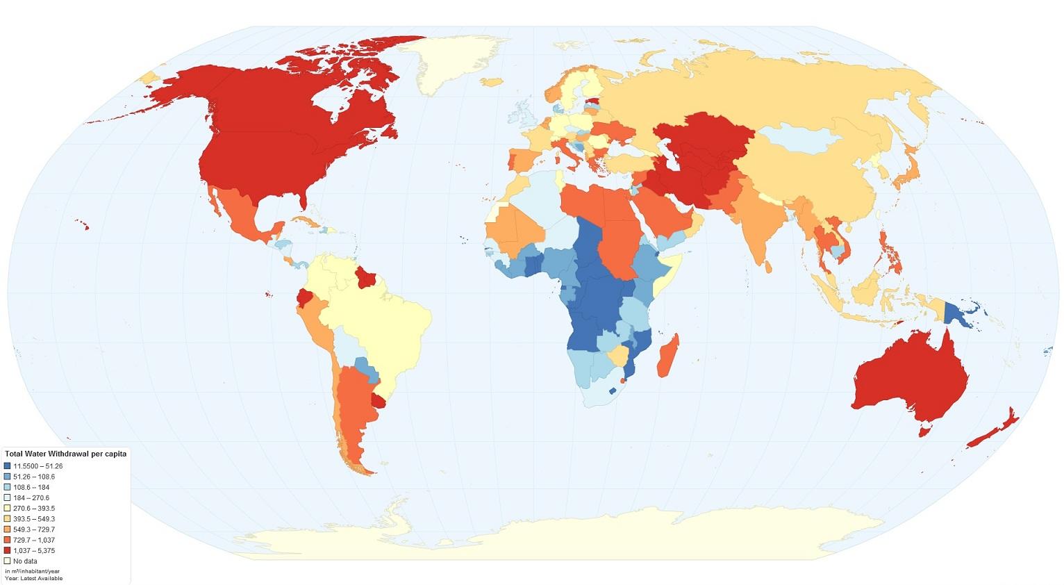 Consumo de agua en España por habitante